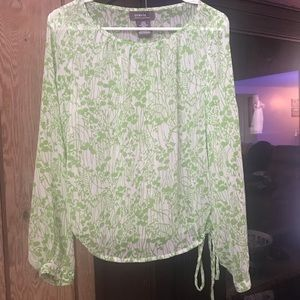 Green and white long sleeve blouse